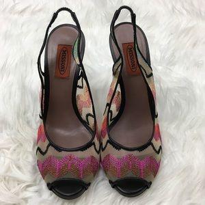 Missoni Women's Slingback Heels Black Peep Toe